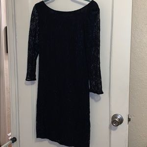 Navy blue lace dress with long sleeves